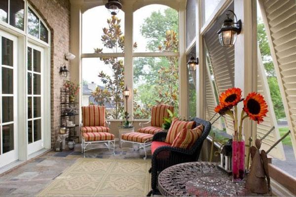 veranda design ideen holz tisch samt dunkel klassisch