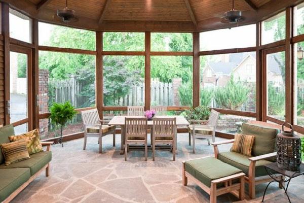 veranda design ideen holz tisch samt elegant