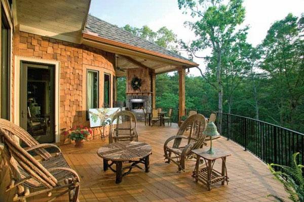veranda design ideen holz tisch stuhl