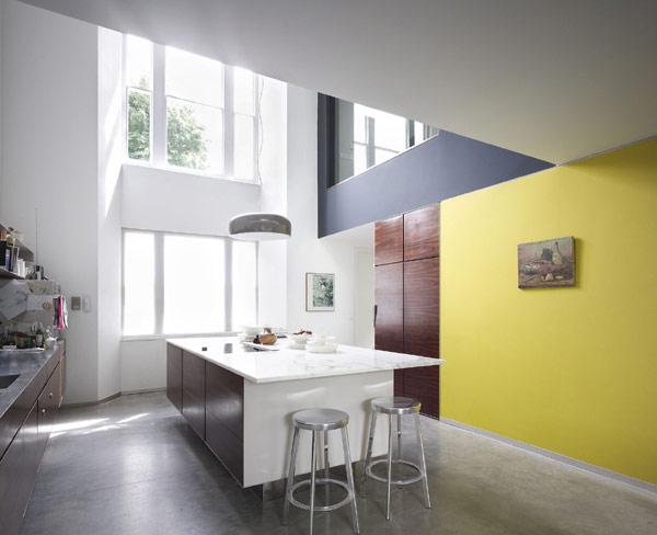 viktorianische villa lens house london küche gelb kücheninsel