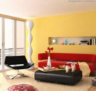wände-streichen-ideen-wohnzimmer-gelb-frisch-hell