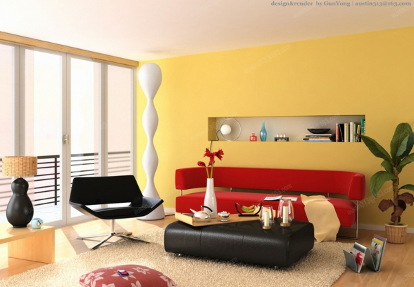 wände streichen ideen wohnzimmer gelb frisch hell