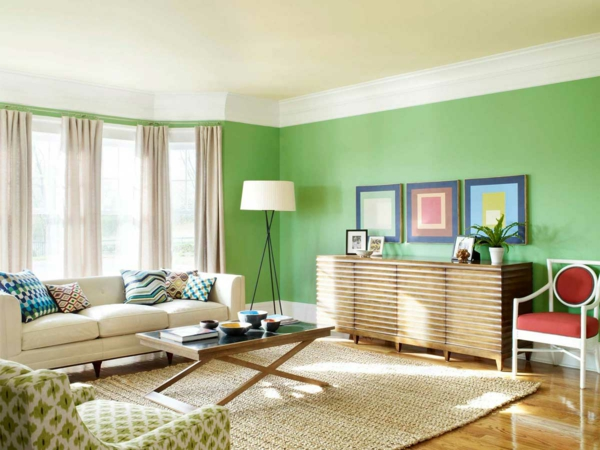 wände streichen ideen wohnzimmer grün hell gardinen beige