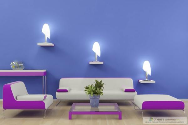 Wände Streichen Ideen Wohnzimmer Lila Violett Pink Blau