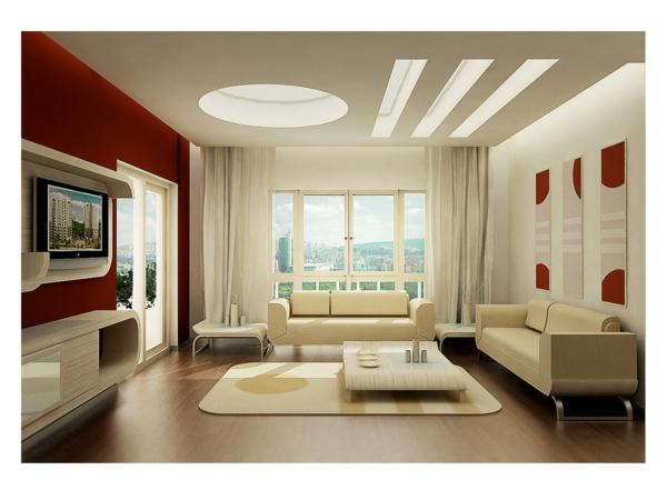 wände streichen ideen wohnzimmer rot weiß modern
