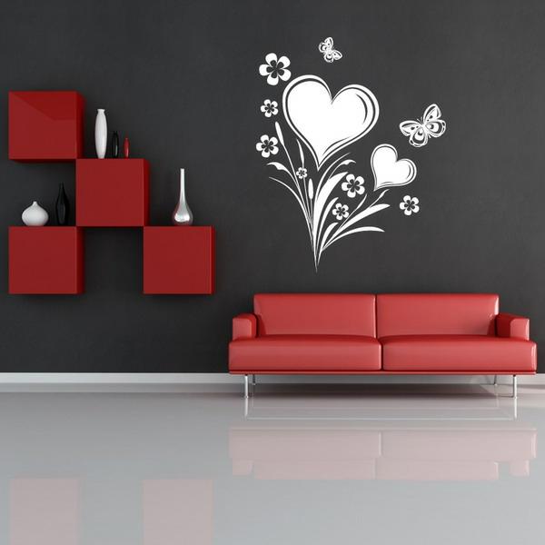 wände streichen ideen wohnzimmer schablon muster herz rot
