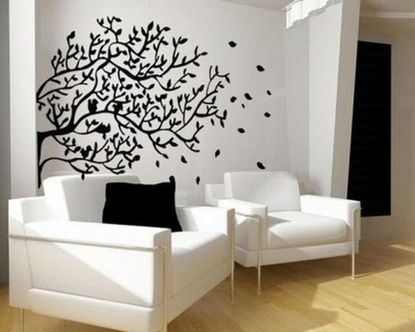 wand farbe streichen idee wohnzimmer muster schwarz weiß