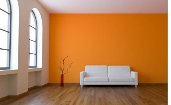wand farbe streichen idee wohnzimmer orange gelb weiß