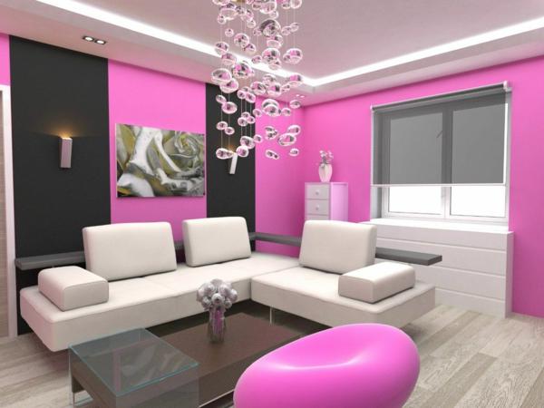 wand farbe streichen idee wohnzimmer rosa pink - Wohnzimmer Farben Design