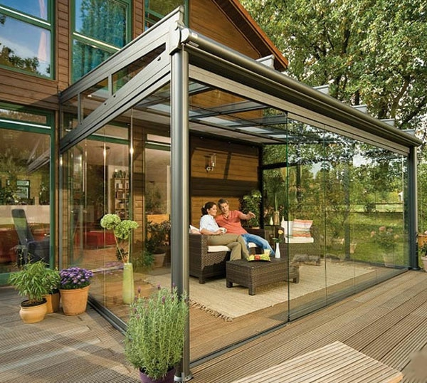 Terrasse Moderne Tage Cr Terrasse En Bois Avec Piscine: Terrasse Wintergarten Aus Glas
