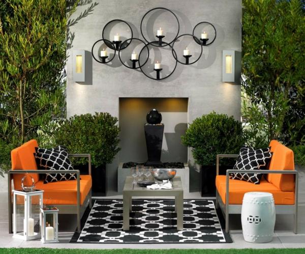 Coole Exterior Accessoires Ideen sitzplatz orange bank auflagen