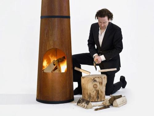 Outdoor Holz Kaminofen in Form von Schornstein