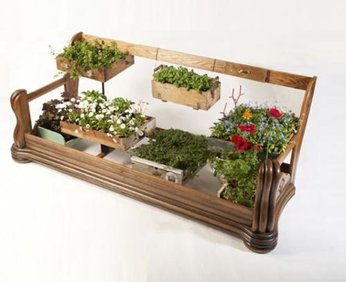 Recycelte Möbel als Pflanzen Behälter verwendet holz rahmen