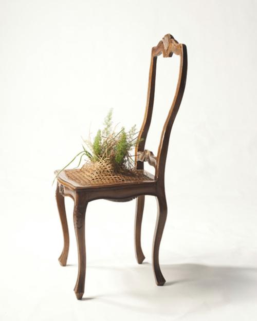 Recycelte Möbel als Pflanzen Behälter verwendet klassisch stuhl