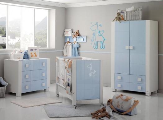 Babyzimmer Gestalten Afrika Micuna Bett Wickelkommode Hell Blau Junge