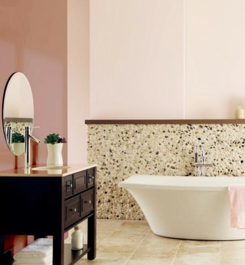 badezimmer design möbel weiblich badewanne pastellfarben rosa