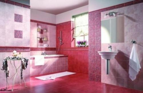 badezimmer design möbel weiblich badewanne rosa fliesenspiegel
