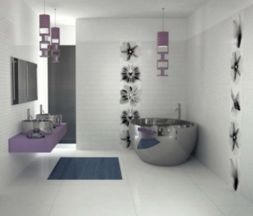 badezimmer design möbel weiblich badewanne silbern lila
