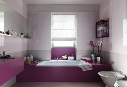badezimmer design möbel weiblich duschkabine violett