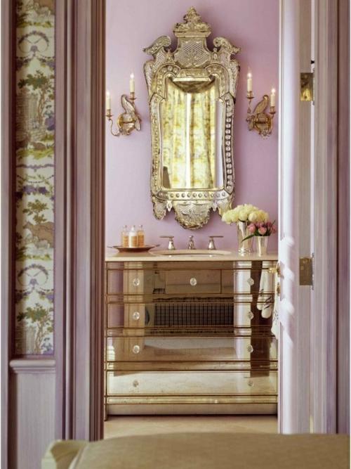 badezimmer design möbel weiblich frisch gold spiegel