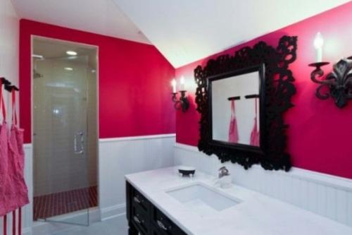 badezimmer design möbel weiblich rot wandfarbe weiß