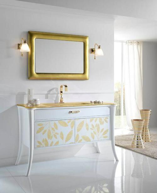 badezimmer design möbel weiblich spiegel rahmen gold