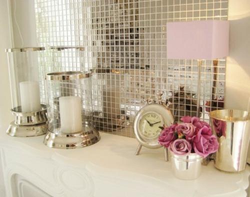 badezimmer design möbel weiblich spiegelwand uhr kerzen