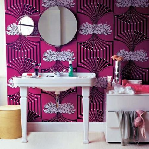 badezimmer design möbel weiblich wandtapete lila muster