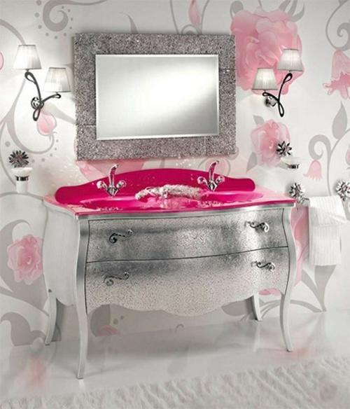 badezimmer design möbel weiblich waschbecken schrank silbern pink