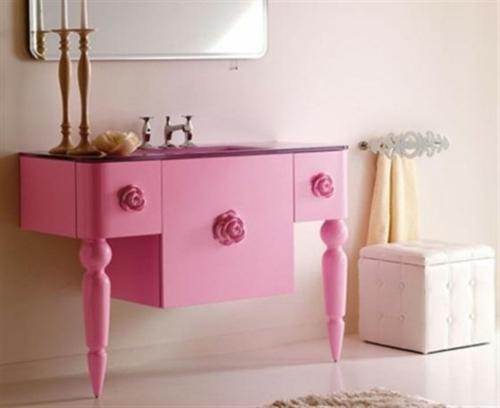 badezimmer design möbel weiblich waschbeken rosa unterschrank