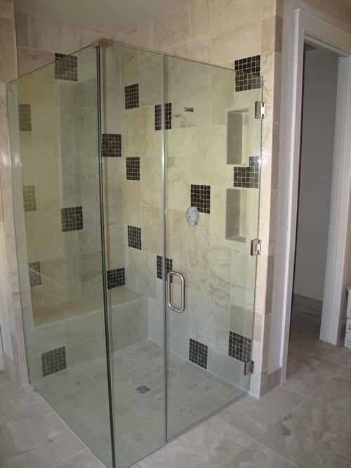 badezimmer ideen duschkabine glas komplett fliesen