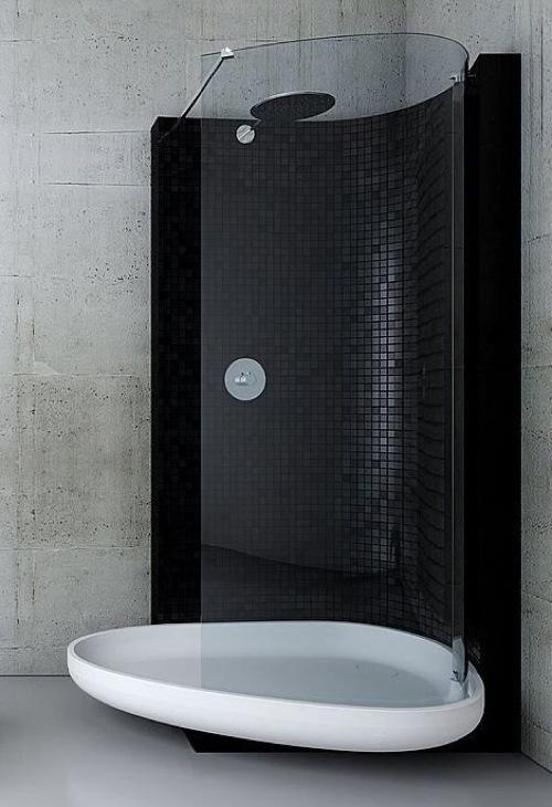 badezimmer ideen duschkabine glass idromassaggio schwarz weiß