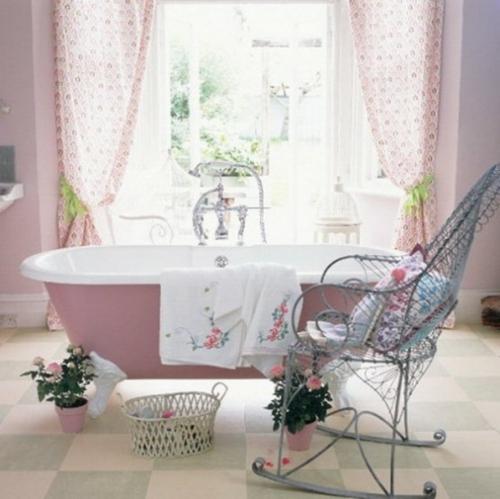 badezimmer möbel weiblich gardinen badewanne pastellfarben rosa