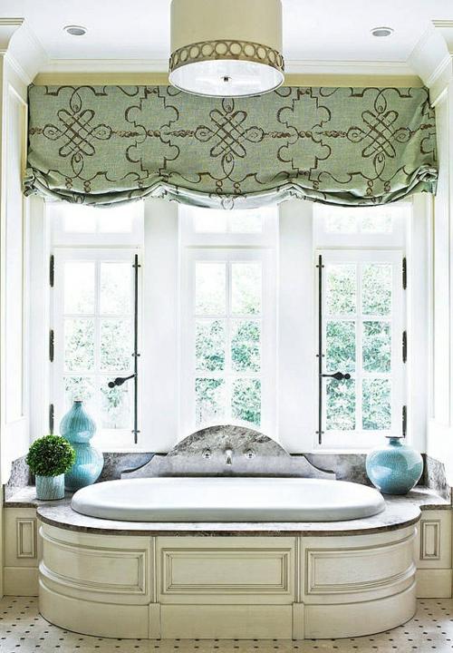 badezimmer möbel weiblich gardinen blau grün badewanne
