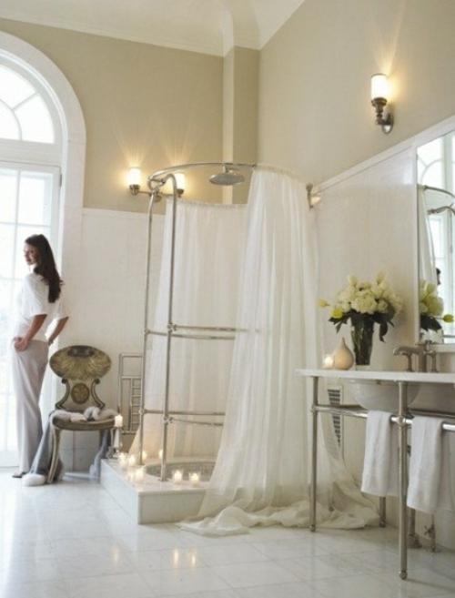 badezimmer möbel weiblich gardinen duschkabine kerzen romantisch