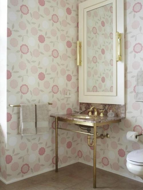 badezimmer möbel weiblich waschbecken wandtapete rosa gold spiegel