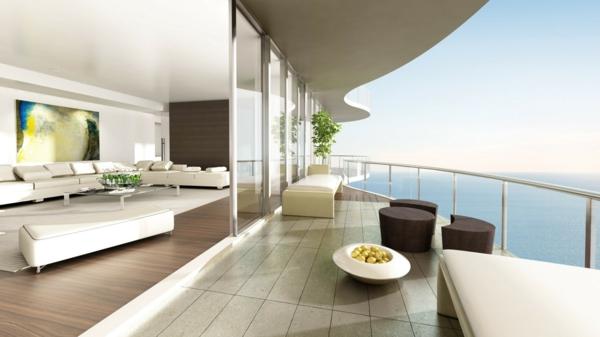 balkon design tipps möbel garnitur modern elegant