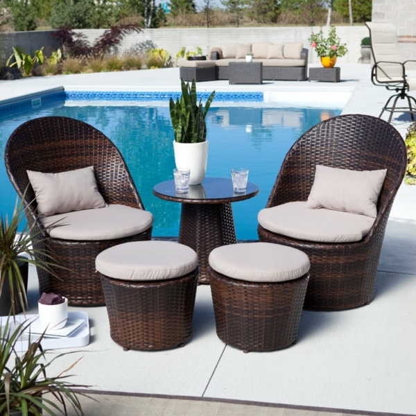 balkon möbel aus rattan gartenmöbel hocker tisch sessel