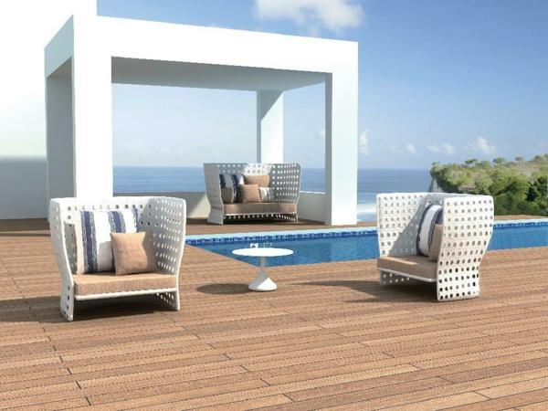außenmöbel aus rattan gartenmöbel lounge weiß pool