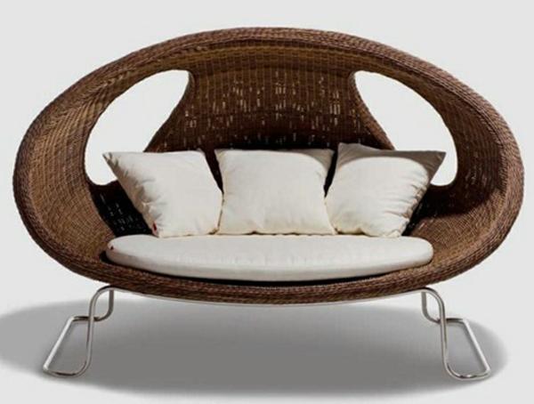 balkon möbel aus rattan gartenmöbel sofa kissen