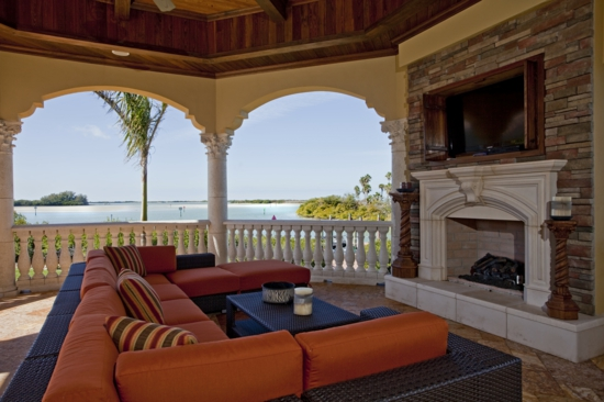 schönes terrasse design orange niedrig sofa möbelgarnitur
