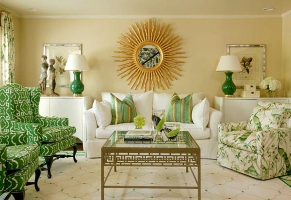 coole wohnzimmer farben:Warmes Farbschema – helle braune Nuancen und dunkelbrauner Paravent