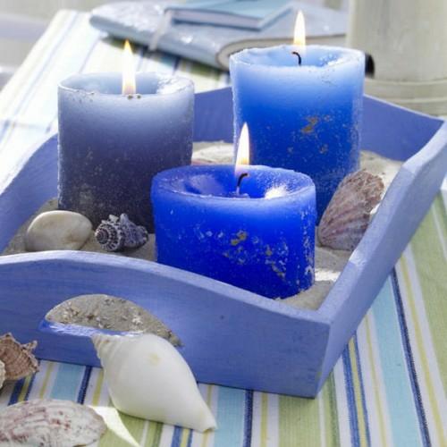 coole kerzen ideen sommer blau meeresthematik