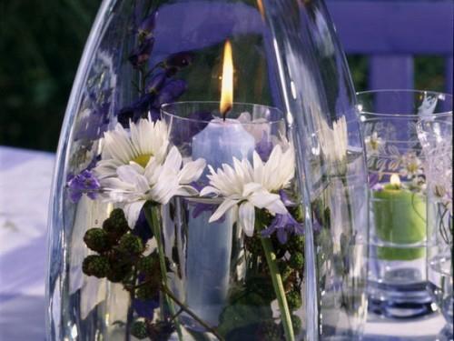 coole kerzen ideen sommer deko weiß blümchen