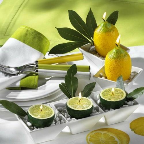 coole kerzen ideen sommer zitronen lime grün frisch