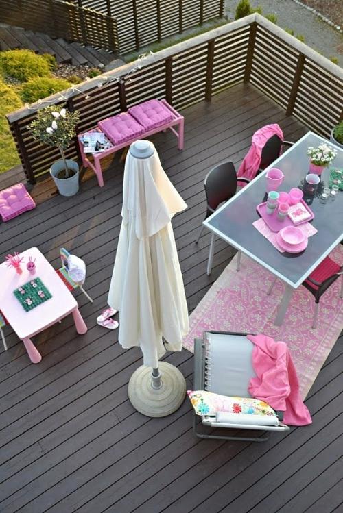 coole moderne gartenmöbel designs holz boden rosa