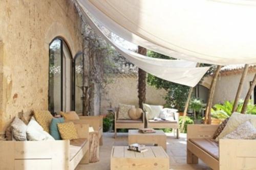 coole moderne gartenmöbel designs luftige gardine weiß