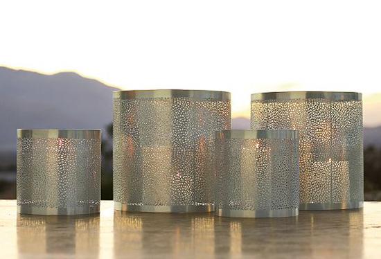 coole outdoor zubehör ideen metallisch schimmer laternen kerzen