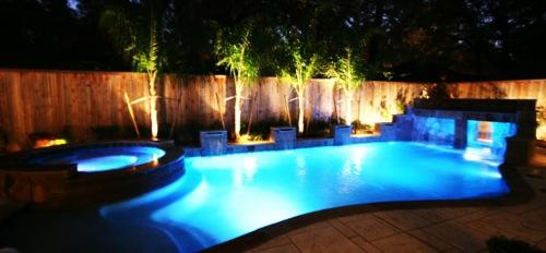 coole wassergarten ideen beleuchtung unterwasser LED