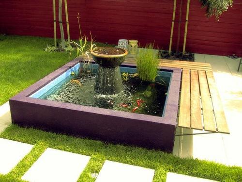 schöne wassergarten ideen quadratisch eigenständig brunnen